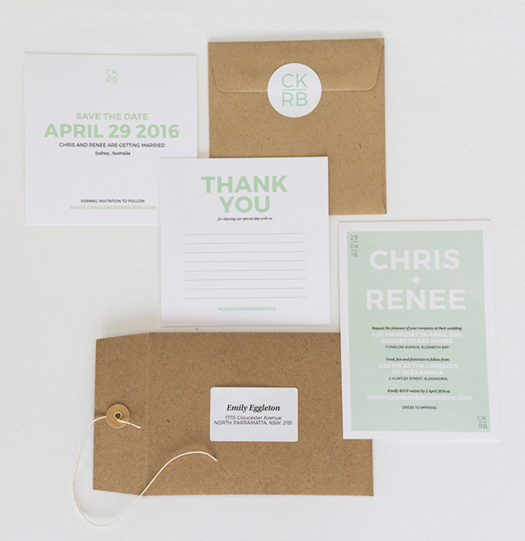 Wedding invitation, save the date and thank you cards