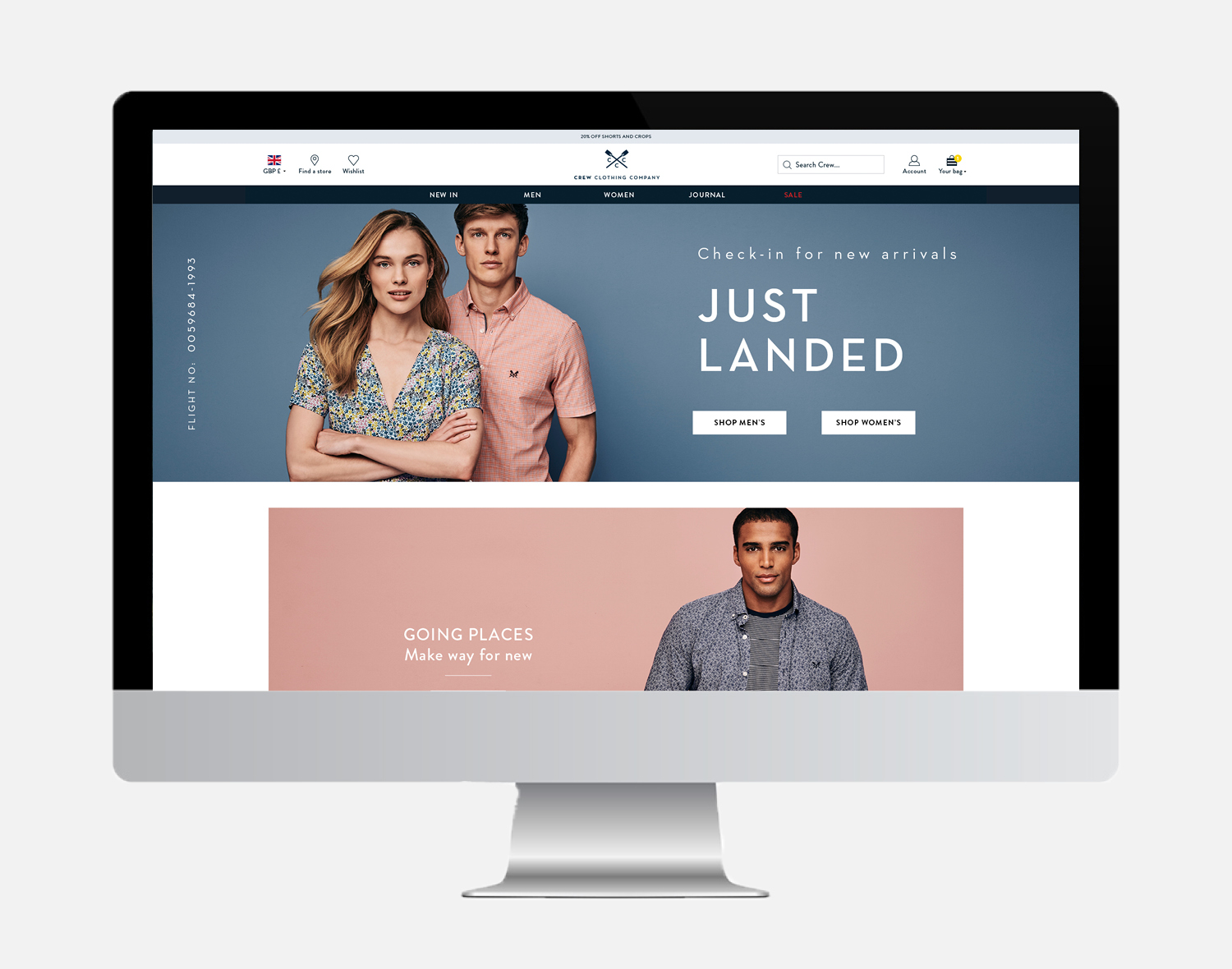 Crew Clothing Company website design